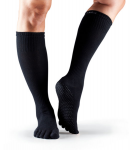 ToeSox Full Toe Knee High Grip Socks in Black