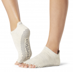 ToeSox Half Toe Low Rise Grip Socks in Oatmeal