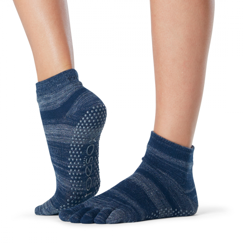 ToeSox Full Toe Ankle Grip Socks in Nebula