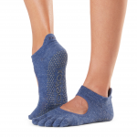 ToeSox Full Toe Bellarina Grip Socks in Navy Blue