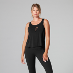 Tavi Noir Laser Cut Tank Top in Ebony
