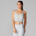 Tavi Noir Tie Front Tank in Light Grey