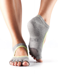 Dance ToeSox Half Toe Plie Heather & Lime