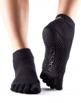 ToeSox Full Toe Ankle Grip Socks in Black
