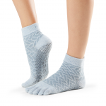 ToeSox Full Toe Ankle Grip Socks in Frost