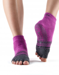 ToeSox Half Toe Ankle Grip Socks Mulberry Stripe