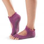 ToeSox Half Toe Bella Grip Socks in Wine Lace