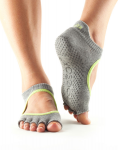 ToeSox Half Toe Bellarina Grip Socks in Heather/Lime