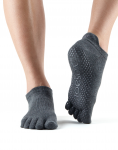 ToeSox Full Toe Low Rise in Charcoal Grey