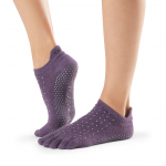 ToeSox Full Toe Low Rise Grip Socks in Jam