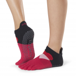 ToeSox Full Toe Low Rise Grip Socks in Passion