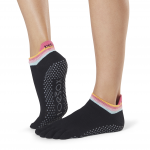 ToeSox Full Toe Low Rise Grip Socks in Retro