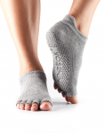 ToeSox Half Toe Low Rise in Heather Grey