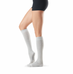 ToeSox Full Toe Knee High Grip Socks in Powder