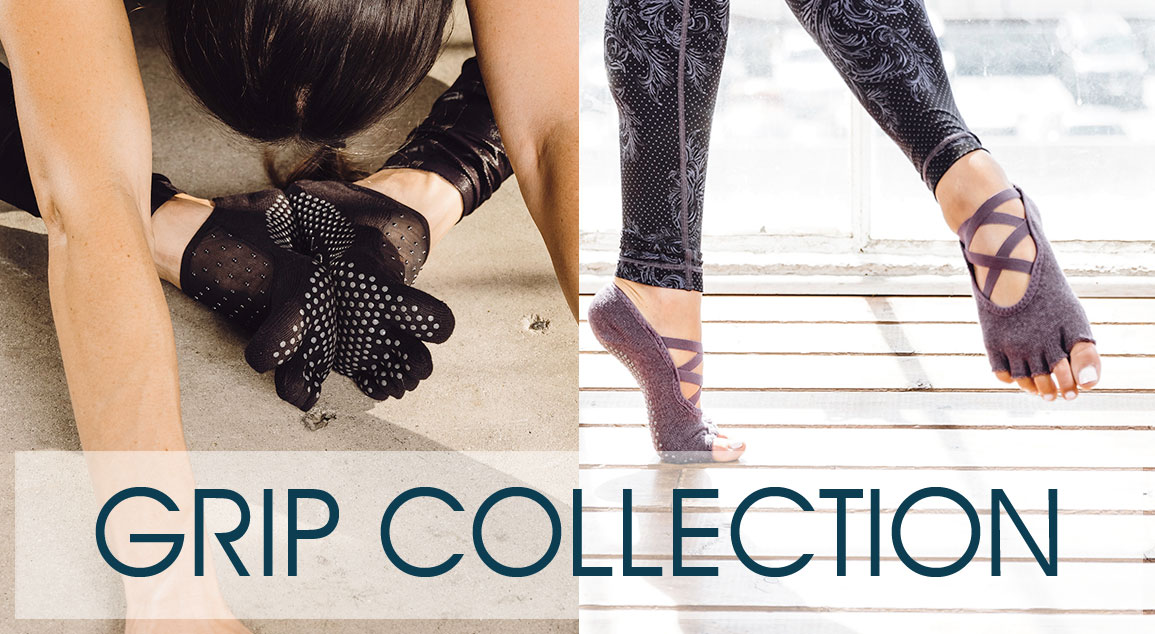 Grip Socks Collection Button - a lady wearing ToeSox doing yoga