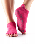 ToeSox Half Toe Low Rise Grip Socks in Fuchsia