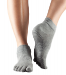 ToeSox Full Toe Ankle Grip Socks in Heather Grey
