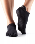 ToeSox Full Toe Low Rise Grip Socks in Black