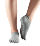 ToeSox Full Toe Low Rise Grip Socks in Heather Grey