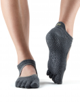 ToeSox Full Toe Bellarina in Charcoal Grey with Lime