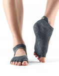 ToeSox Half Toe Bellarina in Charcoal Grey with Lime
