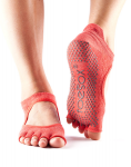 ToeSox Half Toe Bellarina Grip Socks in Fishnet Poppy