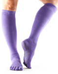ToeSox Full Toe Knee High Grip Socks in Light Purple