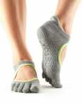 ToeSox Full Toe Bellarina in Heather Grey/Lime